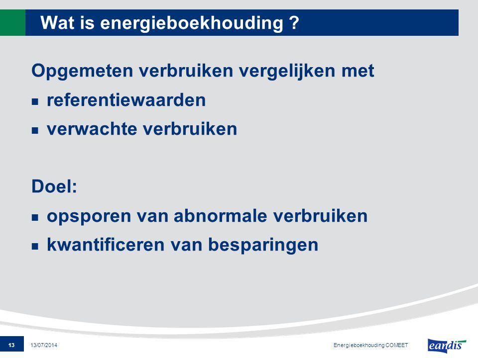 13 13/07/2014 Wat is energieboekhouding ? Opgemeten verbruiken vergelijken met referentiewaarden verwachte verbruiken Doel: opsporen van abnormale ver