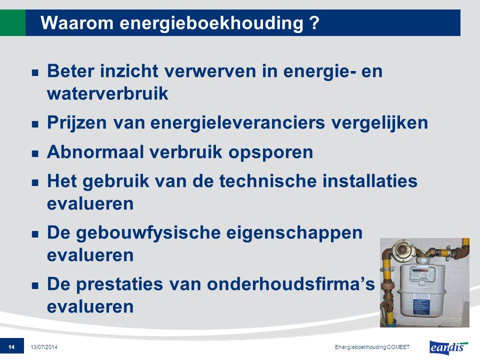 14 13/07/2014 Waarom energieboekhouding ? Beter inzicht verwerven in energie- en waterverbruik Prijzen van energieleveranciers vergelijken Abnormaal v