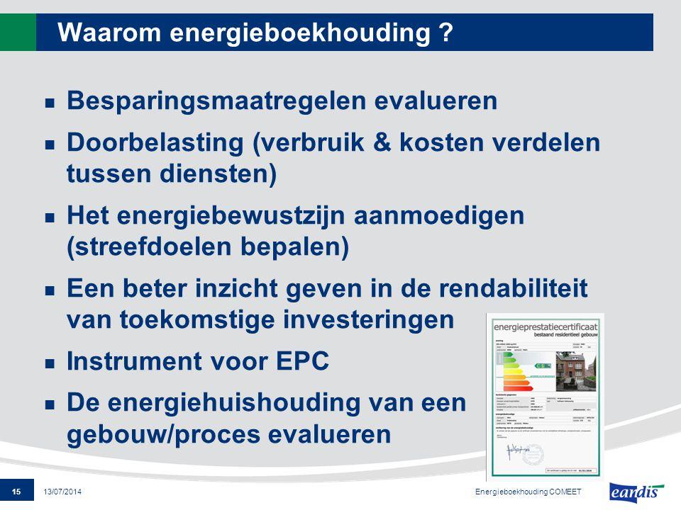 15 13/07/2014 Waarom energieboekhouding ? Besparingsmaatregelen evalueren Doorbelasting (verbruik & kosten verdelen tussen diensten) Het energiebewust