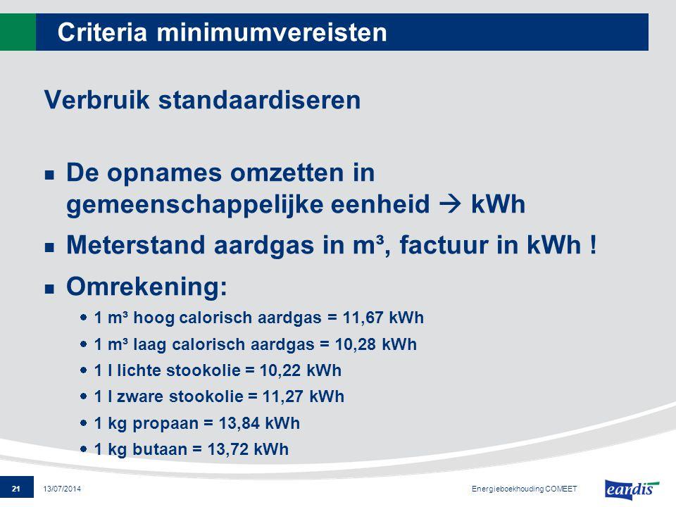 21 13/07/2014 Criteria minimumvereisten Verbruik standaardiseren De opnames omzetten in gemeenschappelijke eenheid  kWh Meterstand aardgas in m³, fac