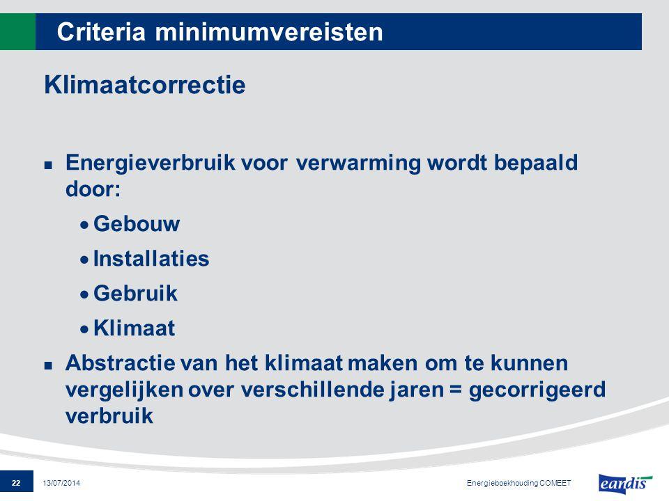 22 13/07/2014 Criteria minimumvereisten Klimaatcorrectie Energieverbruik voor verwarming wordt bepaald door:  Gebouw  Installaties  Gebruik  Klima