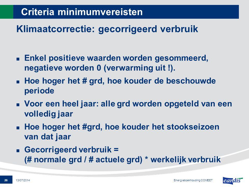 26 13/07/2014 Criteria minimumvereisten Klimaatcorrectie: gecorrigeerd verbruik Enkel positieve waarden worden gesommeerd, negatieve worden 0 (verwarm