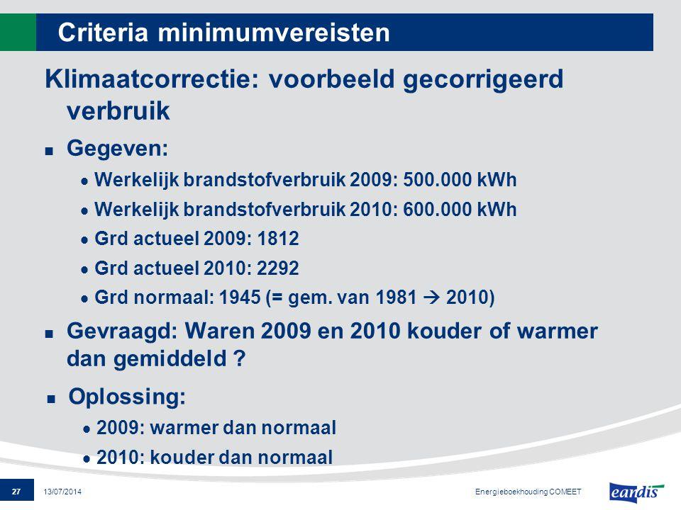 27 13/07/2014 Criteria minimumvereisten Klimaatcorrectie: voorbeeld gecorrigeerd verbruik Gegeven:  Werkelijk brandstofverbruik 2009: 500.000 kWh  W