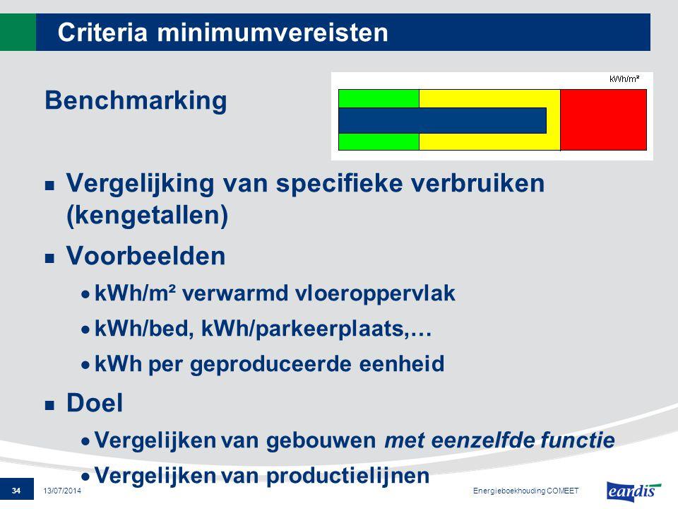 34 13/07/2014 Criteria minimumvereisten Benchmarking Vergelijking van specifieke verbruiken (kengetallen) Voorbeelden  kWh/m² verwarmd vloeroppervlak