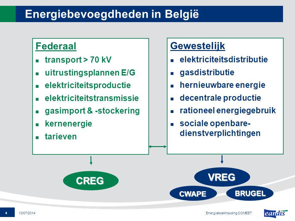 4 13/07/2014 Energiebevoegdheden in België Federaal transport > 70 kV uitrustingsplannen E/G elektriciteitsproductie elektriciteitstransmissie gasimpo