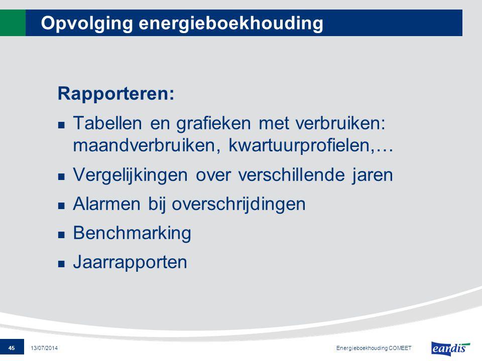 45 13/07/2014 Opvolging energieboekhouding Rapporteren: Tabellen en grafieken met verbruiken: maandverbruiken, kwartuurprofielen,… Vergelijkingen over