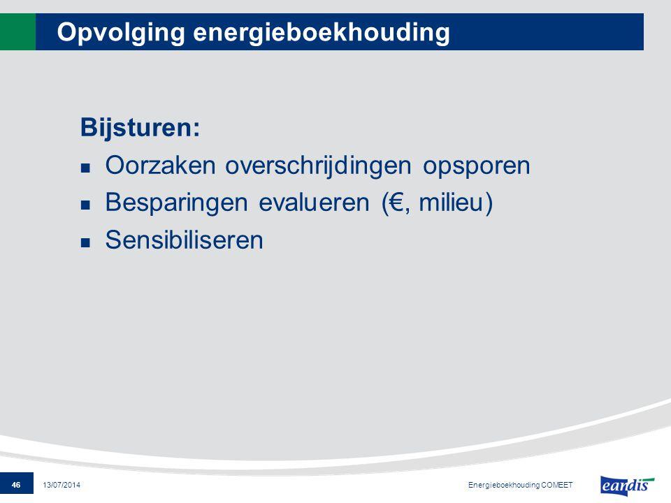 46 13/07/2014 Opvolging energieboekhouding Bijsturen: Oorzaken overschrijdingen opsporen Besparingen evalueren (€, milieu) Sensibiliseren Energieboekh