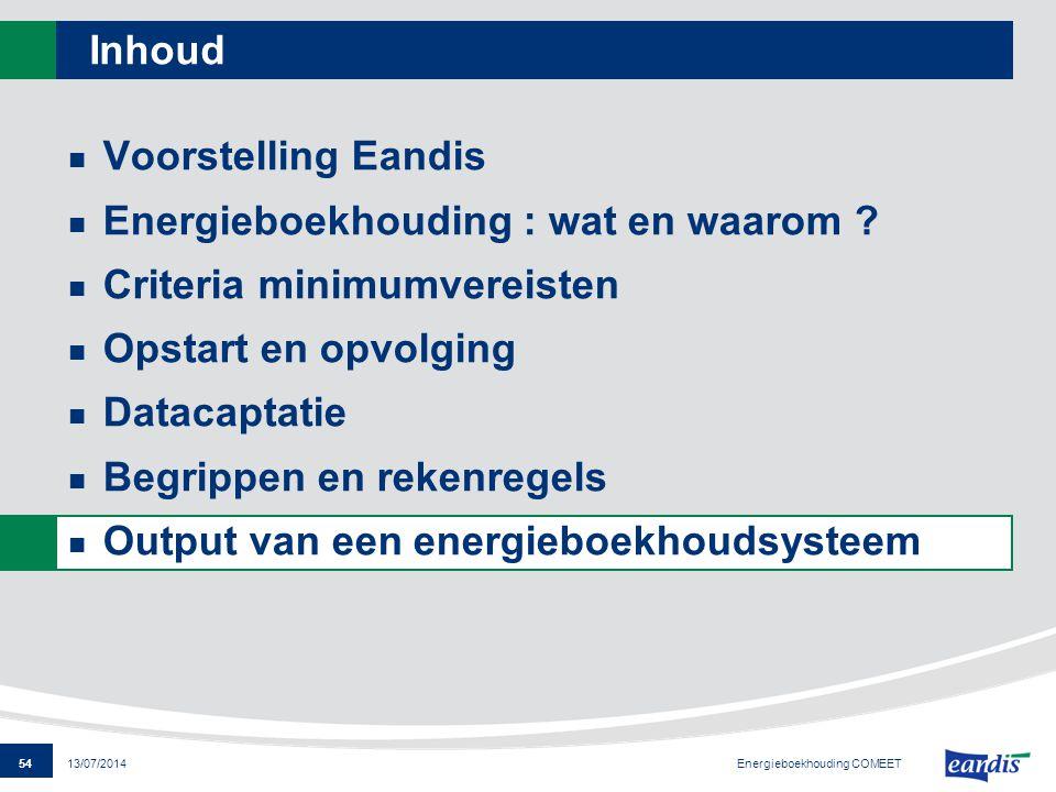 54 13/07/2014 Inhoud Voorstelling Eandis Energieboekhouding : wat en waarom ? Criteria minimumvereisten Opstart en opvolging Datacaptatie Begrippen en
