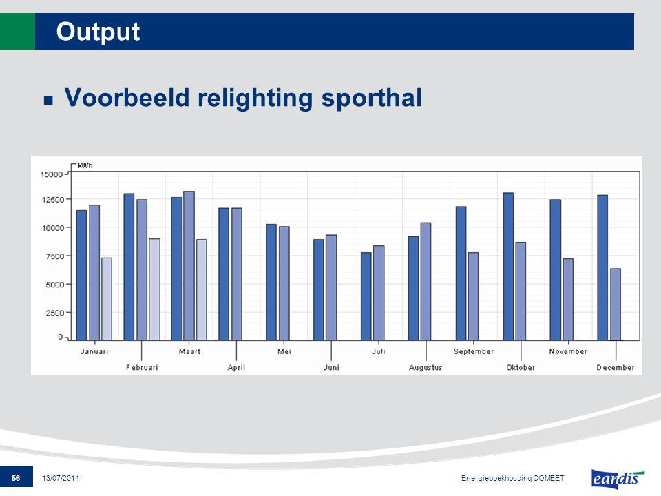 56 13/07/2014 Output Voorbeeld relighting sporthal Energieboekhouding COMEET