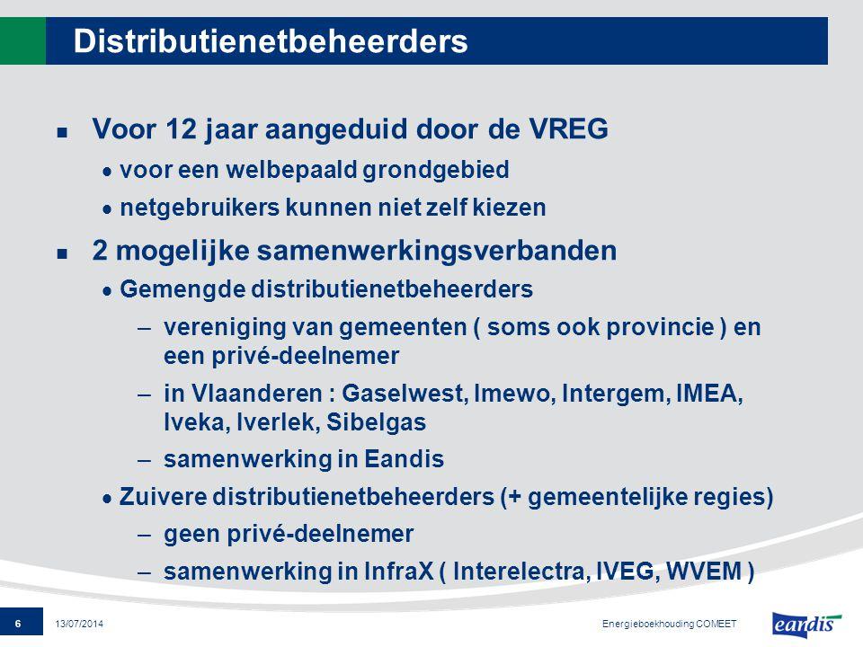 6 13/07/2014 Distributienetbeheerders Voor 12 jaar aangeduid door de VREG  voor een welbepaald grondgebied  netgebruikers kunnen niet zelf kiezen 2