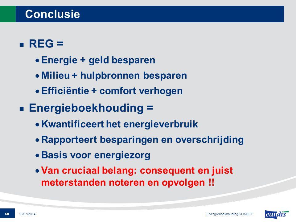 60 13/07/2014 Conclusie REG =  Energie + geld besparen  Milieu + hulpbronnen besparen  Efficiëntie + comfort verhogen Energieboekhouding =  Kwanti