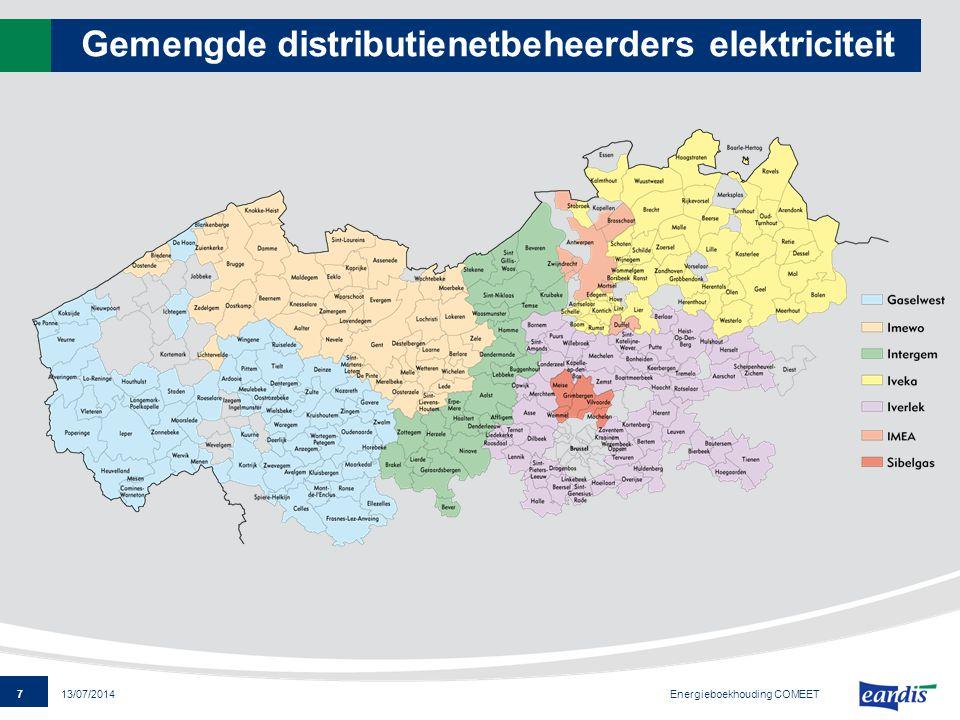 7 13/07/2014 Gemengde distributienetbeheerders elektriciteit Energieboekhouding COMEET