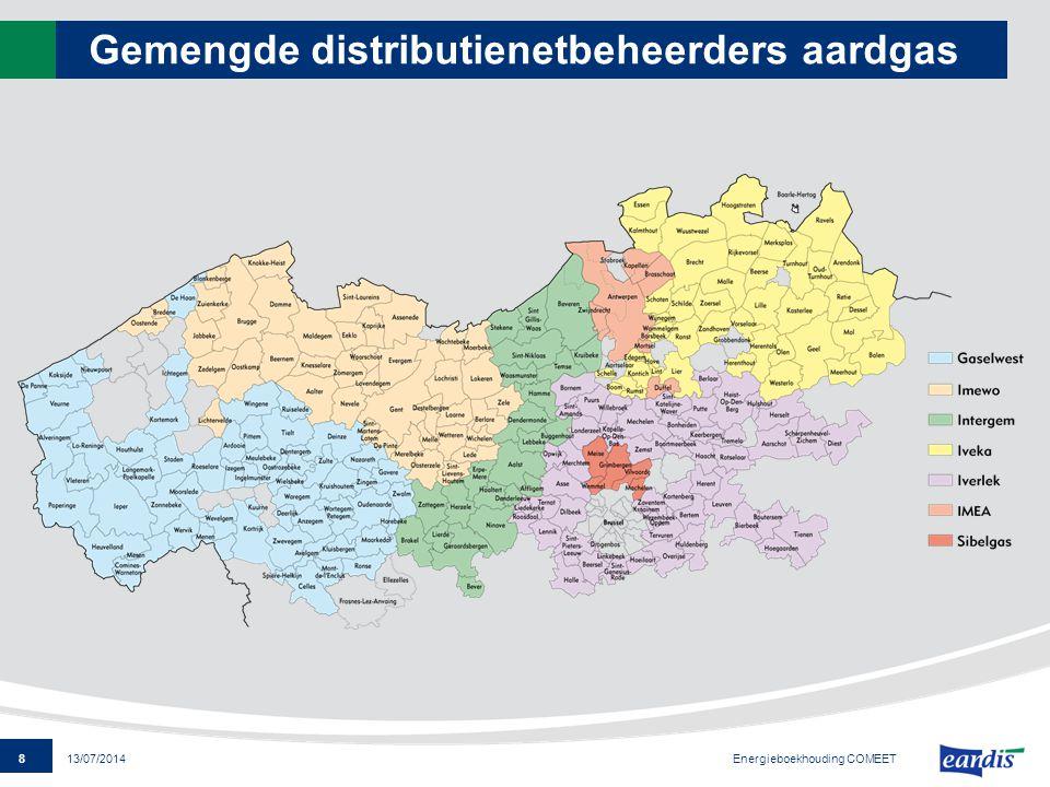 8 13/07/2014 Gemengde distributienetbeheerders aardgas Energieboekhouding COMEET