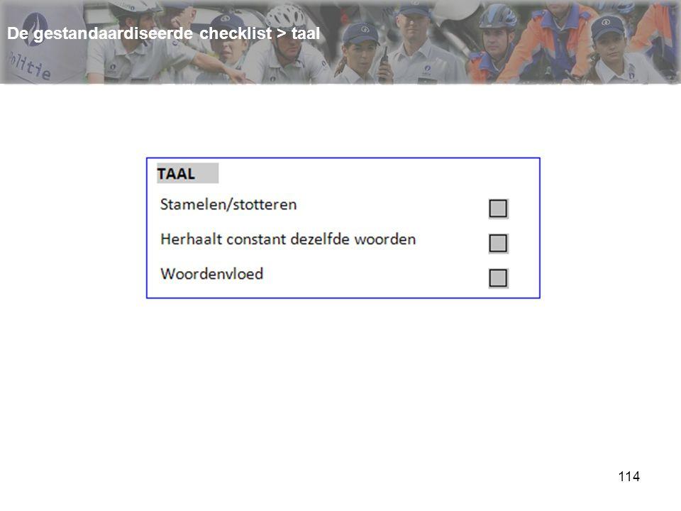 114 De gestandaardiseerde checklist > taal