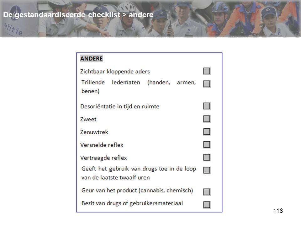 118 De gestandaardiseerde checklist > andere