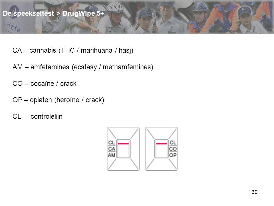 130 De speekseltest > DrugWipe 5+ CA – cannabis (THC / marihuana / hasj) AM – amfetamines (ecstasy / methamfemines) CO – cocaïne / crack OP – opiaten