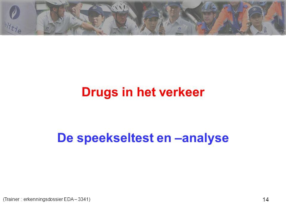 14 Drugs in het verkeer De speekseltest en –analyse (Trainer : erkenningsdossier EDA – 3341)
