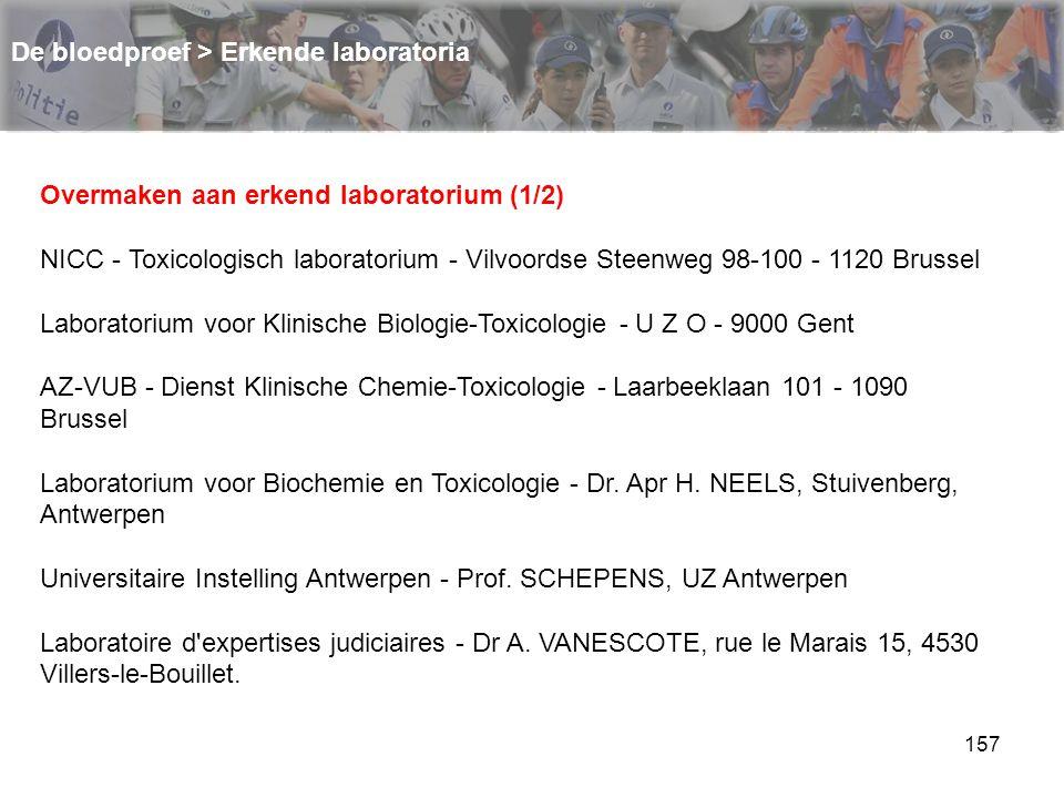 157 De bloedproef > Erkende laboratoria Overmaken aan erkend laboratorium (1/2) NICC - Toxicologisch laboratorium - Vilvoordse Steenweg 98-100 - 1120