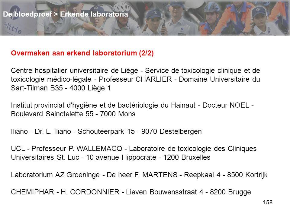 158 De bloedproef > Erkende laboratoria Overmaken aan erkend laboratorium (2/2) Centre hospitalier universitaire de Liège - Service de toxicologie cli
