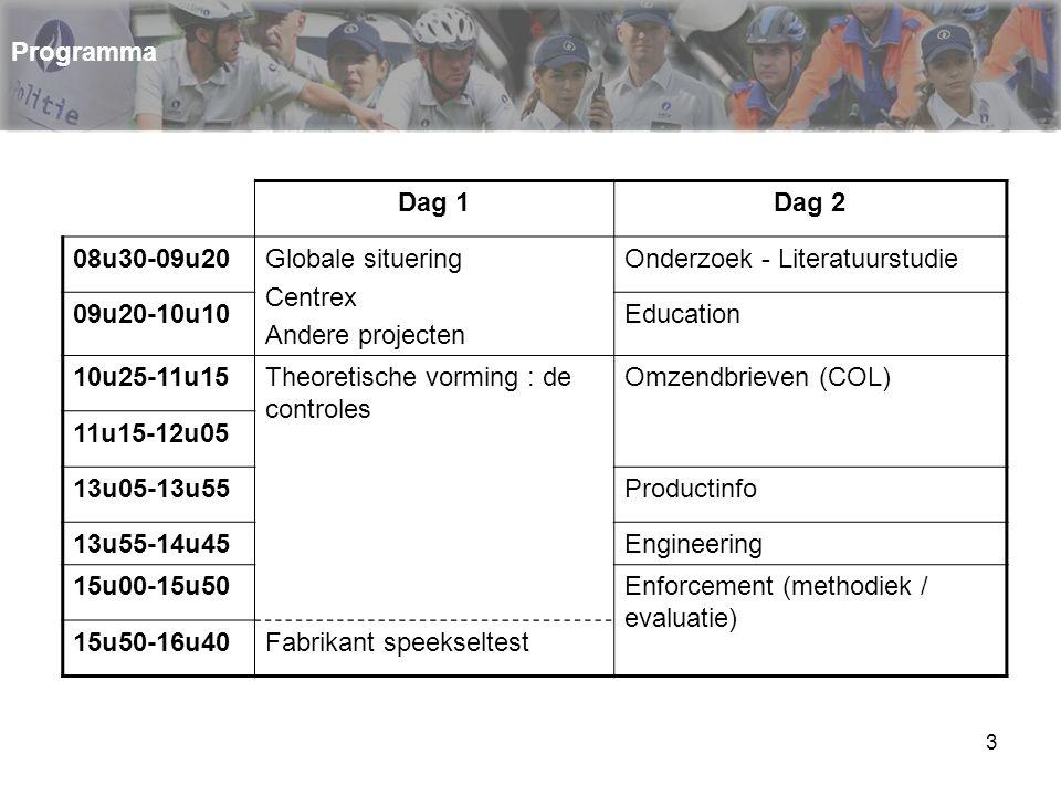 3 Dag 1Dag 2 08u30-09u20Globale situering Centrex Andere projecten Onderzoek - Literatuurstudie 09u20-10u10Education 10u25-11u15Theoretische vorming :