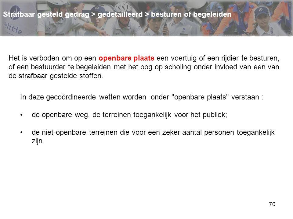 70 Strafbaar gesteld gedrag > gedetailleerd > besturen of begeleiden Het is verboden om op een openbare plaats een voertuig of een rijdier te besturen