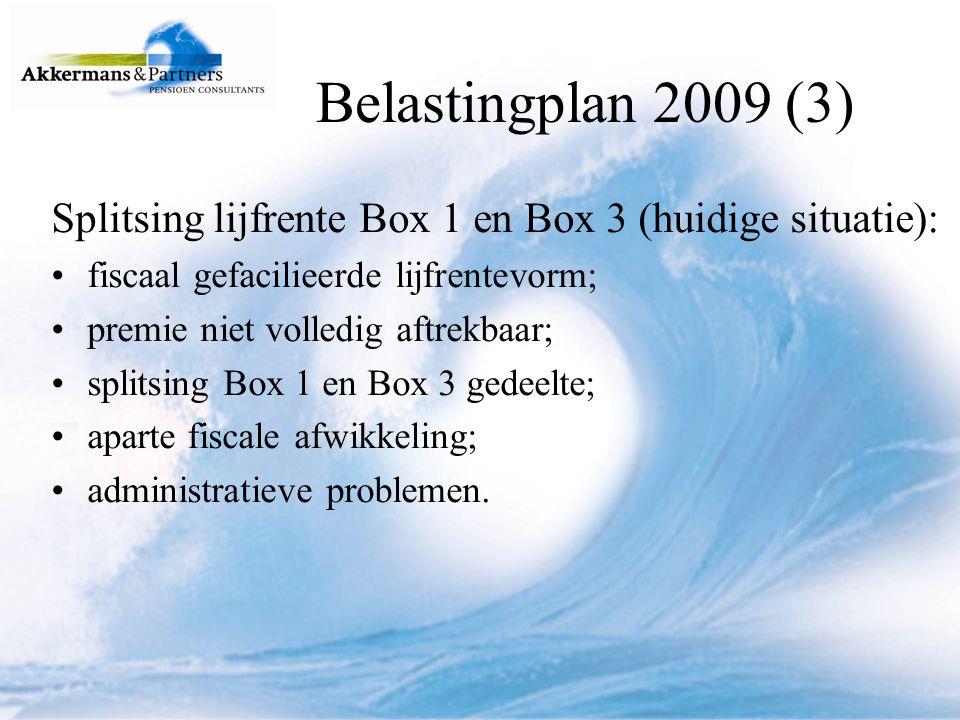 Splitsing lijfrente Box 1 en Box 3 (nieuwe situatie vanaf 1 januari 2009): fiscaal gefacilieerde lijfrentevorm; volledig belast in Box 1; ongeacht of premie is afgetrokken; saldomethode tot € 2.269,--; overgangsrecht tot 1 januari 2009 niet afgetrokken premies: geen beperking.