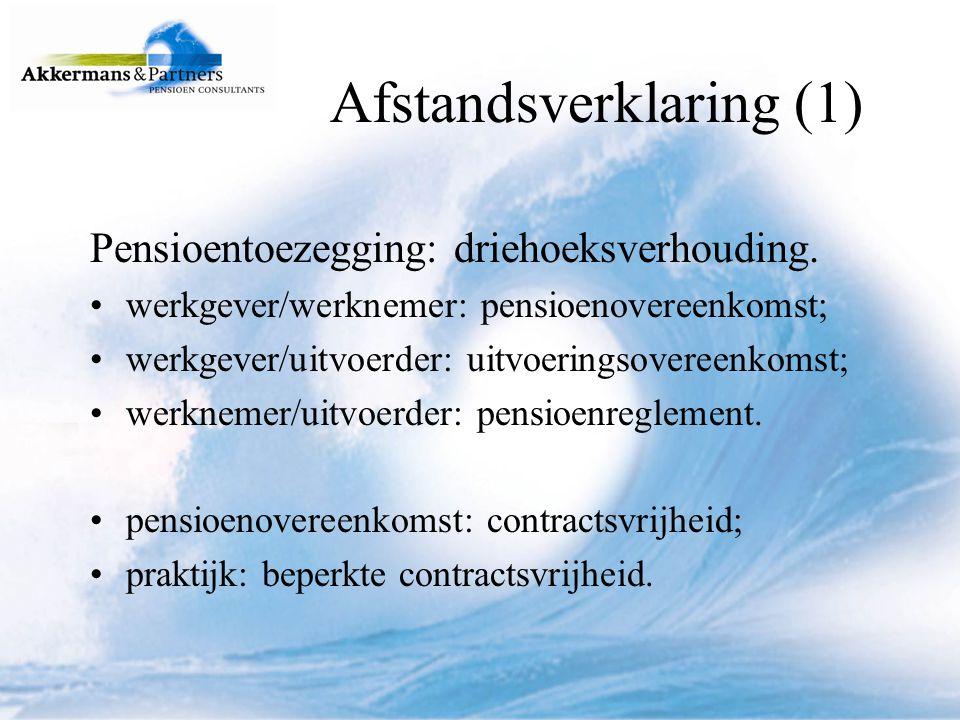 Afstandsverklaring (2) Beperkte contractsvrijheid: verplichte deelneming Bpf; collectieve arbeidsovereenkomst; reeds bestaande uitvoeringsovereenkomst.