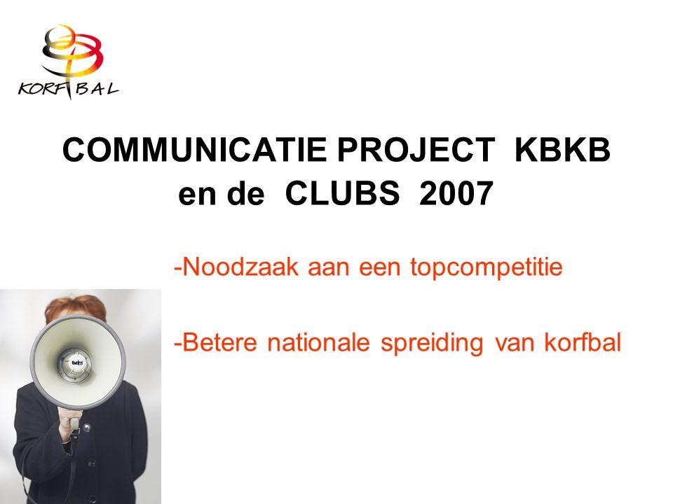 COMMUNICATIE PROJECT KBKB en de CLUBS 2007 -Noodzaak aan een topcompetitie -Betere nationale spreiding van korfbal