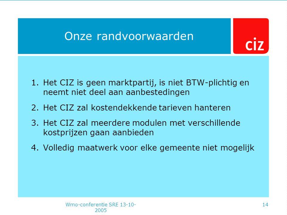 Wmo-conferentie SRE 13-10- 2005 14 Onze randvoorwaarden 1.Het CIZ is geen marktpartij, is niet BTW-plichtig en neemt niet deel aan aanbestedingen 2.Het CIZ zal kostendekkende tarieven hanteren 3.Het CIZ zal meerdere modulen met verschillende kostprijzen gaan aanbieden 4.Volledig maatwerk voor elke gemeente niet mogelijk