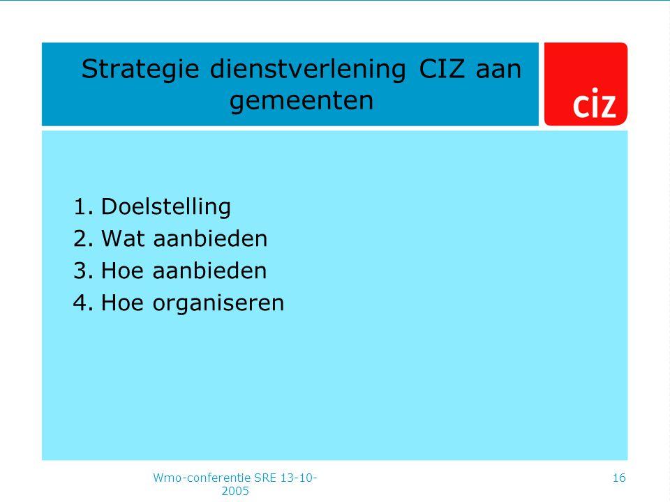Wmo-conferentie SRE 13-10- 2005 16 Strategie dienstverlening CIZ aan gemeenten 1.Doelstelling 2.Wat aanbieden 3.Hoe aanbieden 4.Hoe organiseren