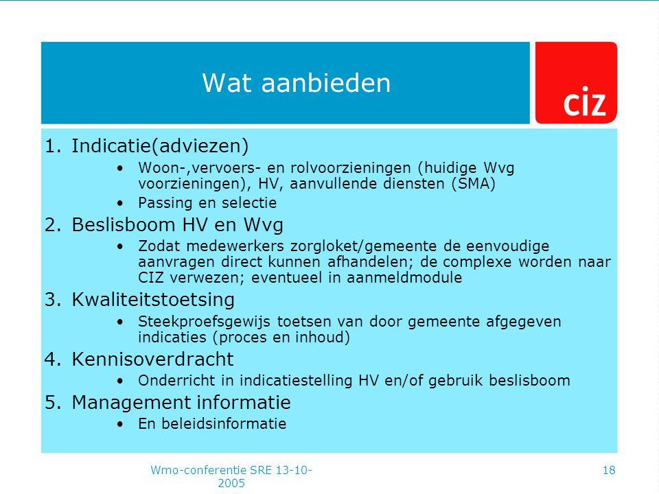Wmo-conferentie SRE 13-10- 2005 18 Wat aanbieden 1.Indicatie(adviezen) Woon-,vervoers- en rolvoorzieningen (huidige Wvg voorzieningen), HV, aanvullende diensten (SMA) Passing en selectie 2.Beslisboom HV en Wvg Zodat medewerkers zorgloket/gemeente de eenvoudige aanvragen direct kunnen afhandelen; de complexe worden naar CIZ verwezen; eventueel in aanmeldmodule 3.Kwaliteitstoetsing Steekproefsgewijs toetsen van door gemeente afgegeven indicaties (proces en inhoud) 4.Kennisoverdracht Onderricht in indicatiestelling HV en/of gebruik beslisboom 5.Management informatie En beleidsinformatie