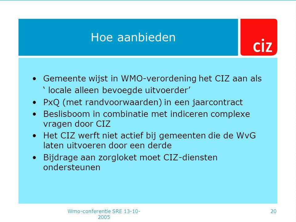 Wmo-conferentie SRE 13-10- 2005 20 Hoe aanbieden Gemeente wijst in WMO-verordening het CIZ aan als ' locale alleen bevoegde uitvoerder' PxQ (met randvoorwaarden) in een jaarcontract Beslisboom in combinatie met indiceren complexe vragen door CIZ Het CIZ werft niet actief bij gemeenten die de WvG laten uitvoeren door een derde Bijdrage aan zorgloket moet CIZ-diensten ondersteunen