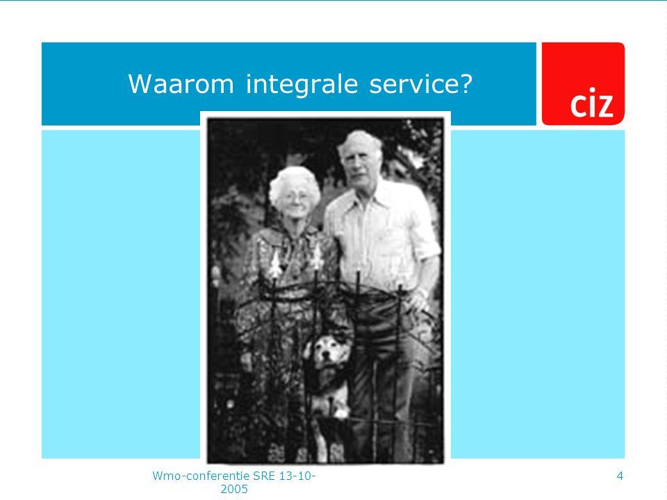 Wmo-conferentie SRE 13-10- 2005 4 Waarom integrale service