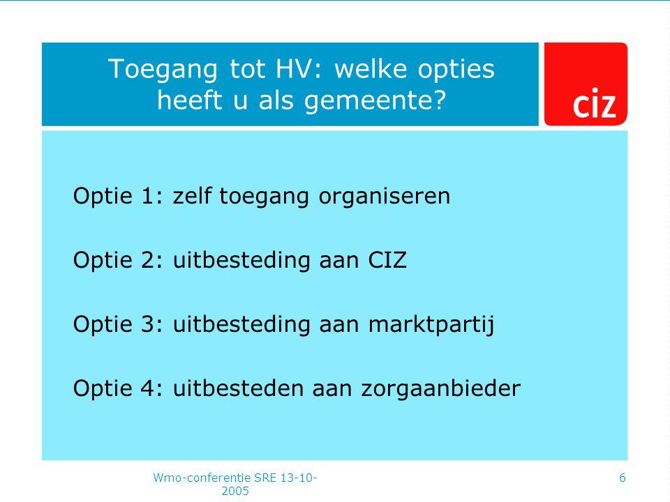 Wmo-conferentie SRE 13-10- 2005 6 Toegang tot HV: welke opties heeft u als gemeente.