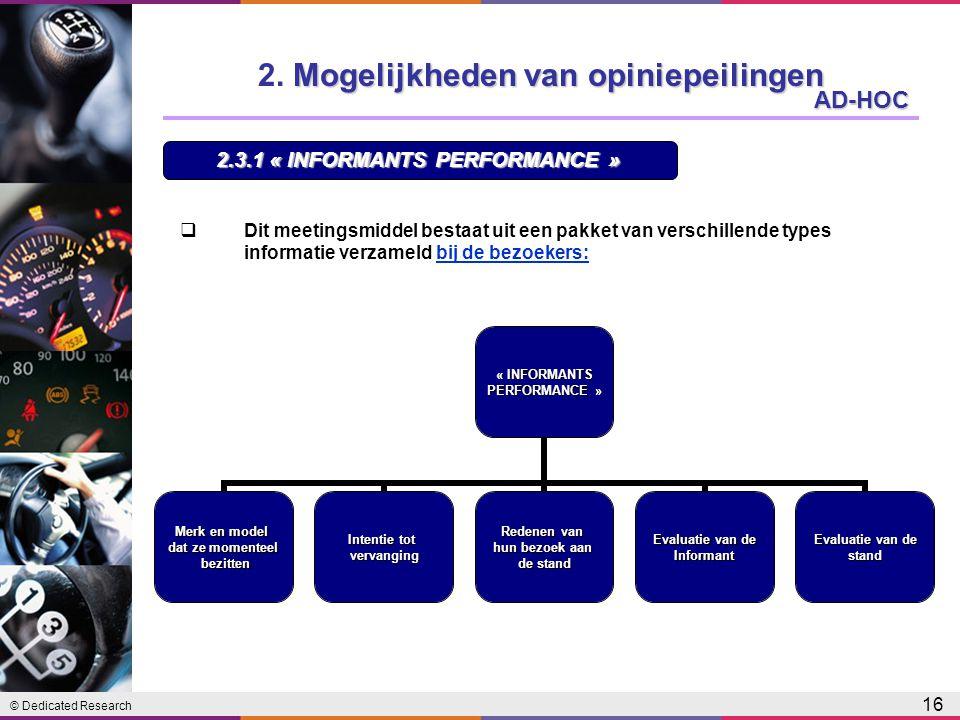© Dedicated Research 16 AD-HOC  Dit meetingsmiddel bestaat uit een pakket van verschillende types informatie verzameld bij de bezoekers:« INFORMANTSPERFORMANCE » Merk en model dat ze momenteel bezitten bezitten Intentie tot vervanging Redenen van hun bezoek aan de stand Evaluatie van de Informant stand 2.3.1 « INFORMANTS PERFORMANCE » Mogelijkheden van opiniepeilingen 2.