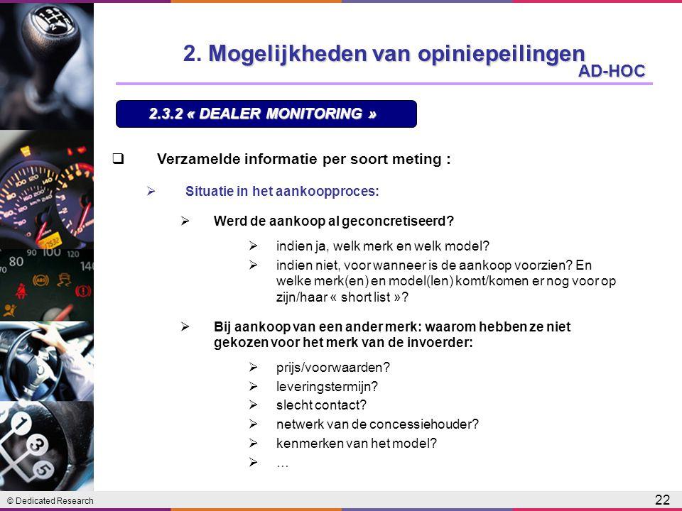 © Dedicated Research 22 AD-HOC 2.3.2 « DEALER MONITORING » Mogelijkheden van opiniepeilingen 2.