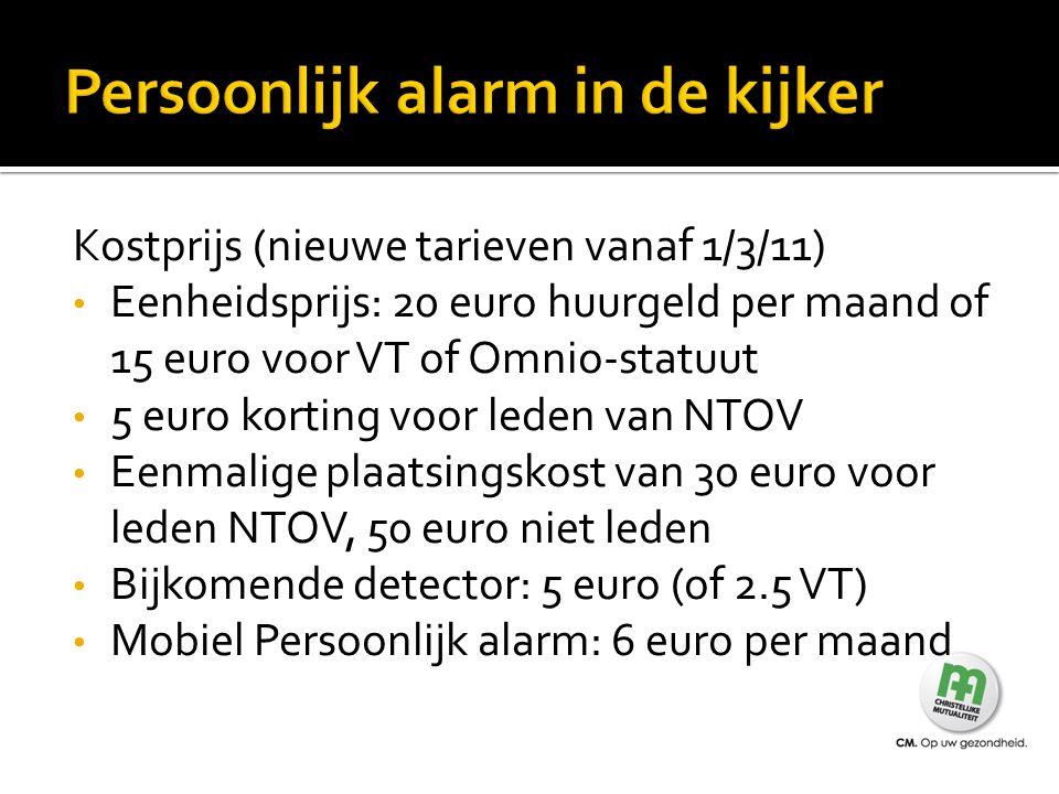 Kostprijs (nieuwe tarieven vanaf 1/3/11) Eenheidsprijs: 20 euro huurgeld per maand of 15 euro voor VT of Omnio-statuut 5 euro korting voor leden van N