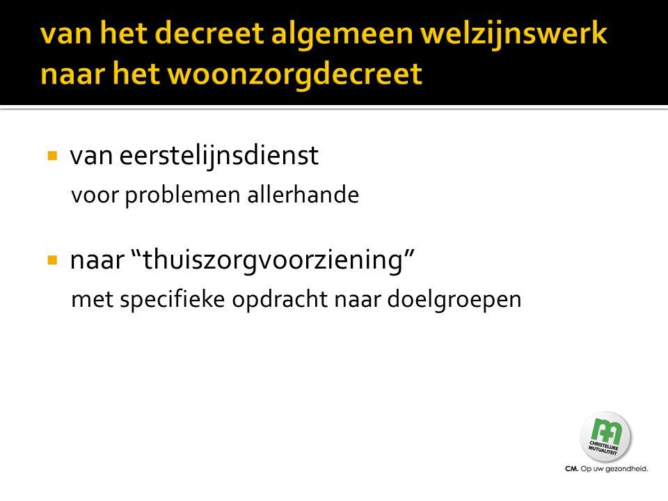  Zorgbegeleiding en thuiszorgcoördinatie ingebed in samenwerkingsakkoorden NTOV en Zorgnet Vlaanderen met projectsubsidie RIZIV  Doel is mensen langer thuis te laten wonen  Basiswerkers leiden de cliënten toe naar dit project.