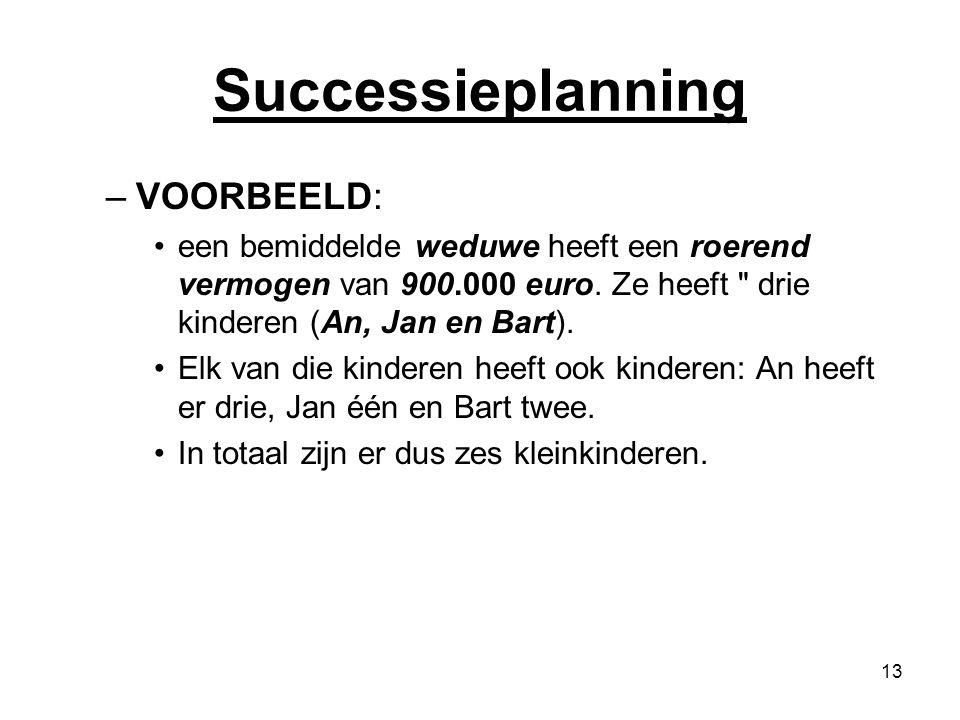 13 Successieplanning –VOORBEELD: een bemiddelde weduwe heeft een roerend vermogen van 900.000 euro. Ze heeft