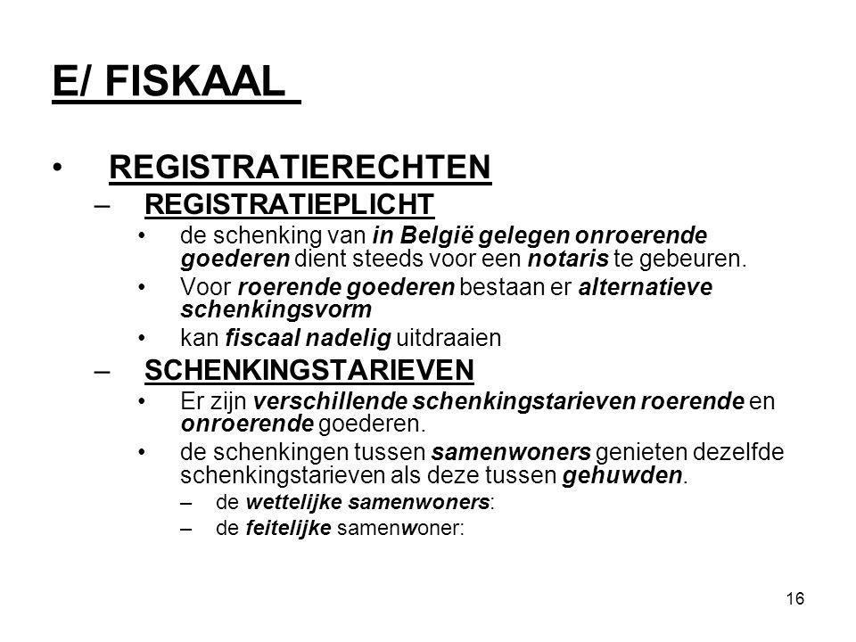 16 E/ FISKAAL REGISTRATIERECHTEN –REGISTRATIEPLICHT de schenking van in België gelegen onroerende goederen dient steeds voor een notaris te gebeuren.