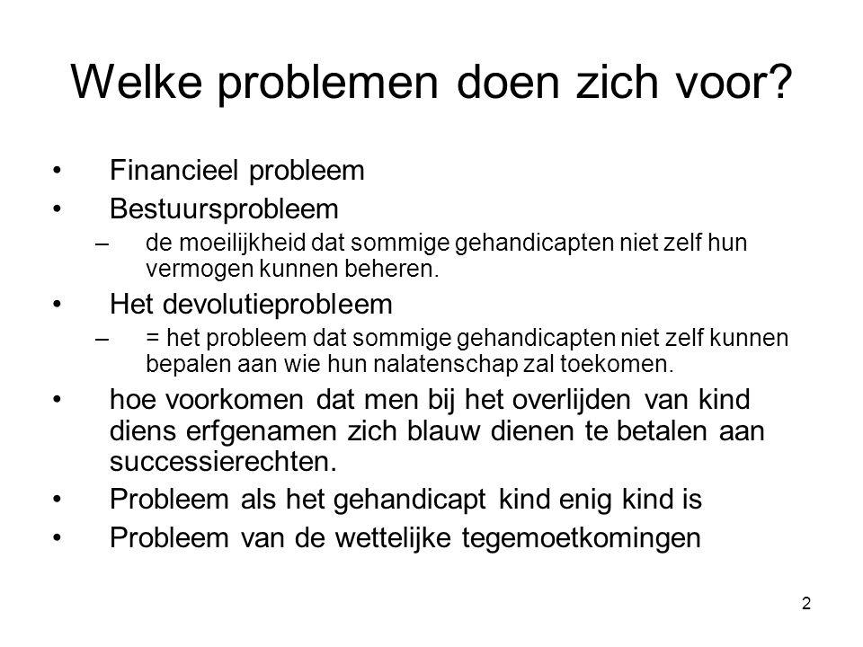 2 Welke problemen doen zich voor? Financieel probleem Bestuursprobleem –de moeilijkheid dat sommige gehandicapten niet zelf hun vermogen kunnen behere