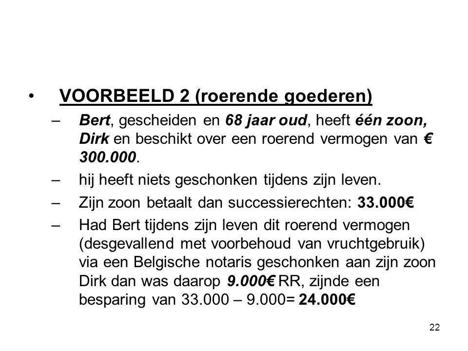 22 VOORBEELD 2 (roerende goederen) –Bert, gescheiden en 68 jaar oud, heeft één zoon, Dirk en beschikt over een roerend vermogen van € 300.000. –hij he