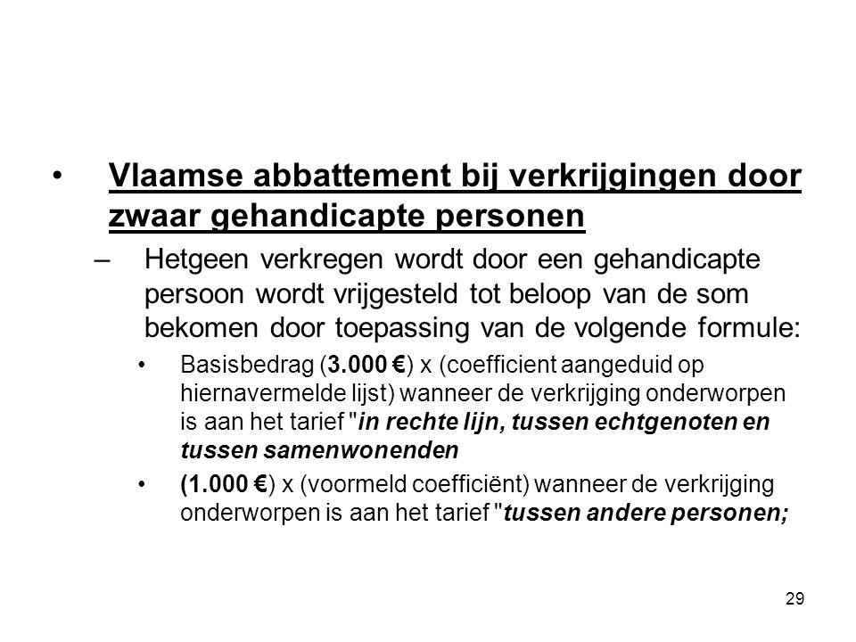 29 Vlaamse abbattement bij verkrijgingen door zwaar gehandicapte personen –Hetgeen verkregen wordt door een gehandicapte persoon wordt vrijgesteld tot