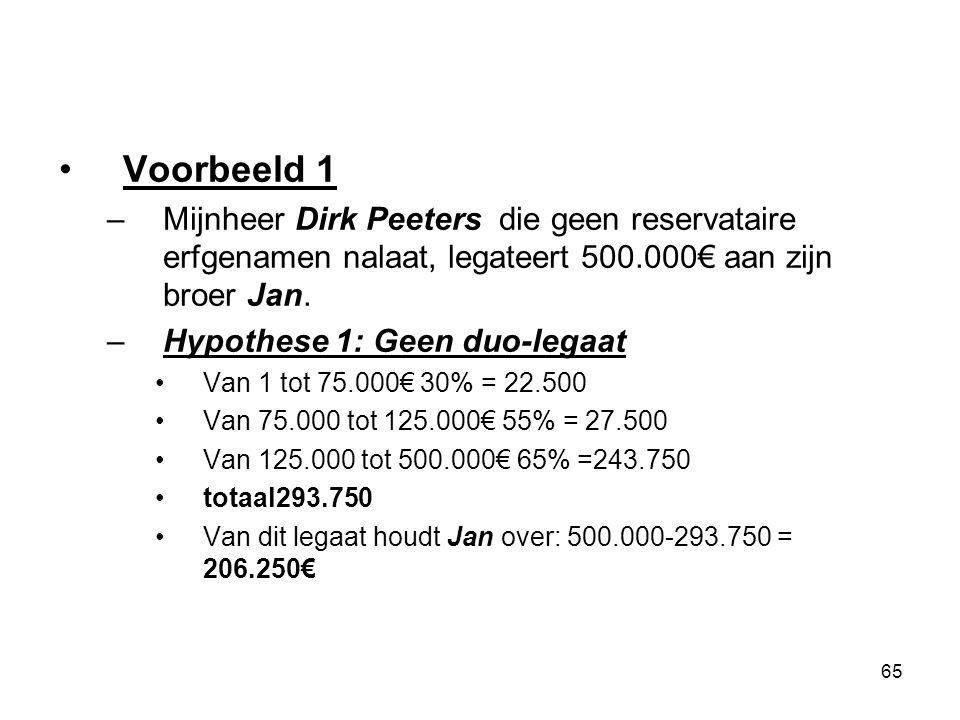 65 Voorbeeld 1 –Mijnheer Dirk Peeters die geen reservataire erfgenamen nalaat, legateert 500.000€ aan zijn broer Jan. –Hypothese 1: Geen duo-legaat Va