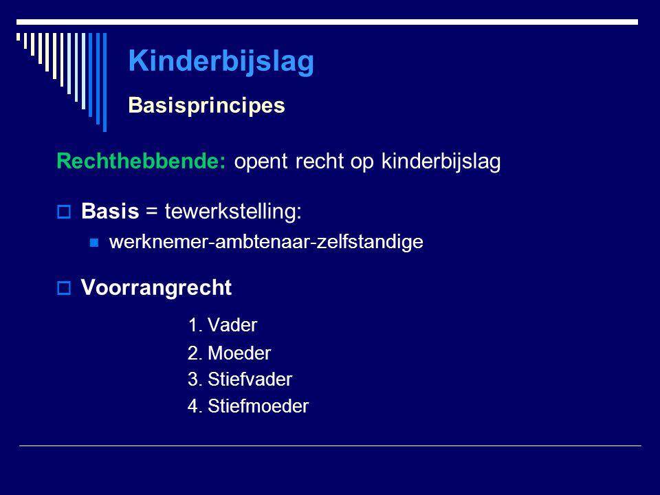 Kinderbijslag Basisprincipes Rechthebbende: opent recht op kinderbijslag  Basis = tewerkstelling: werknemer-ambtenaar-zelfstandige  Voorrangrecht 1.