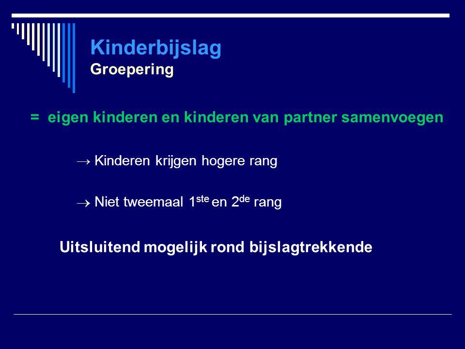 Kinderbijslag Groepering = eigen kinderen en kinderen van partner samenvoegen → Kinderen krijgen hogere rang  Niet tweemaal 1 ste en 2 de rang Uitslu