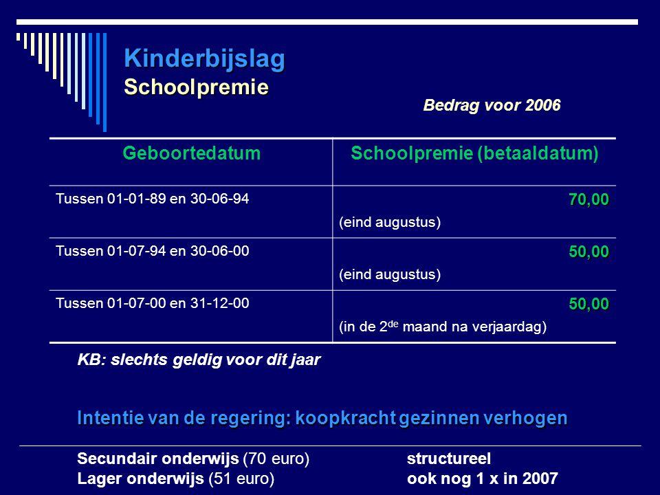 Kinderbijslag Schoolpremie Bedrag voor 2006 GeboortedatumSchoolpremie (betaaldatum) Tussen 01-01-89 en 30-06-9470,00 (eind augustus) Tussen 01-07-94 e