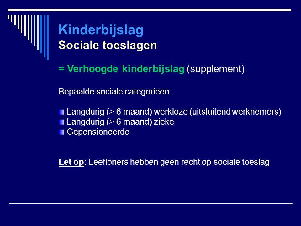 Kinderbijslag Sociale toeslagen = Verhoogde kinderbijslag (supplement) Bepaalde sociale categorieën: Langdurig (> 6 maand) werkloze (uitsluitend werkn