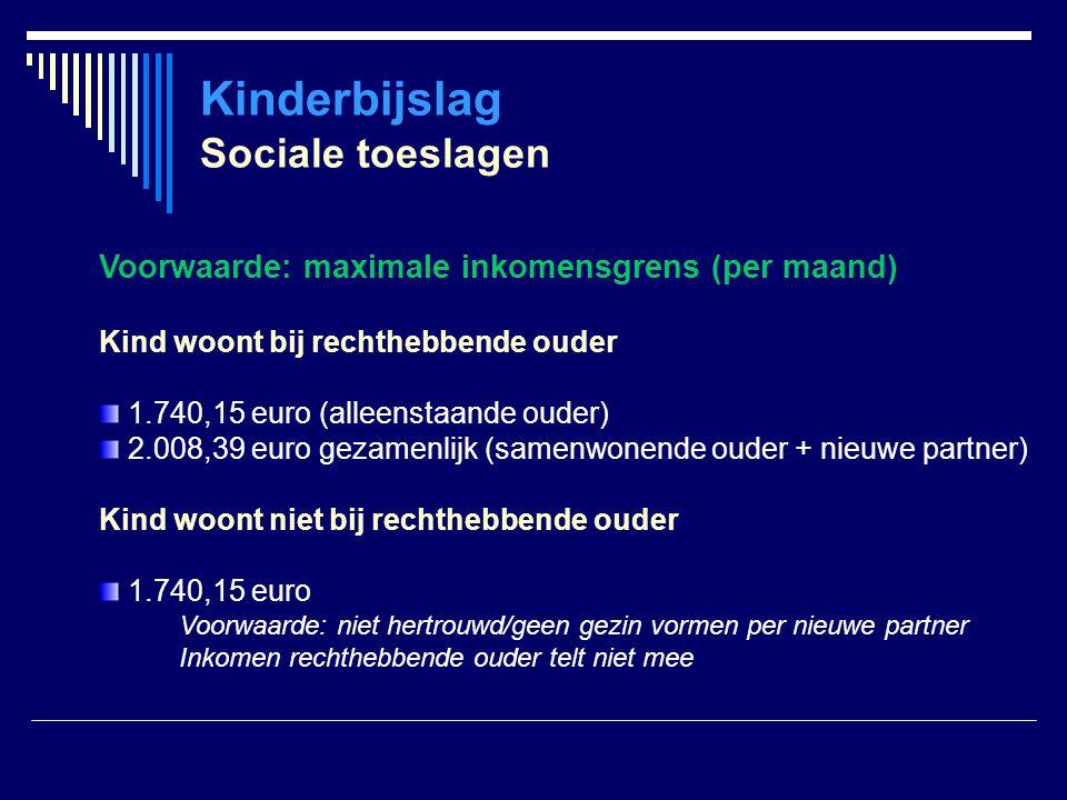 Kinderbijslag Sociale toeslagen Voorwaarde: maximale inkomensgrens (per maand) Kind woont bij rechthebbende ouder 1.740,15 euro (alleenstaande ouder)