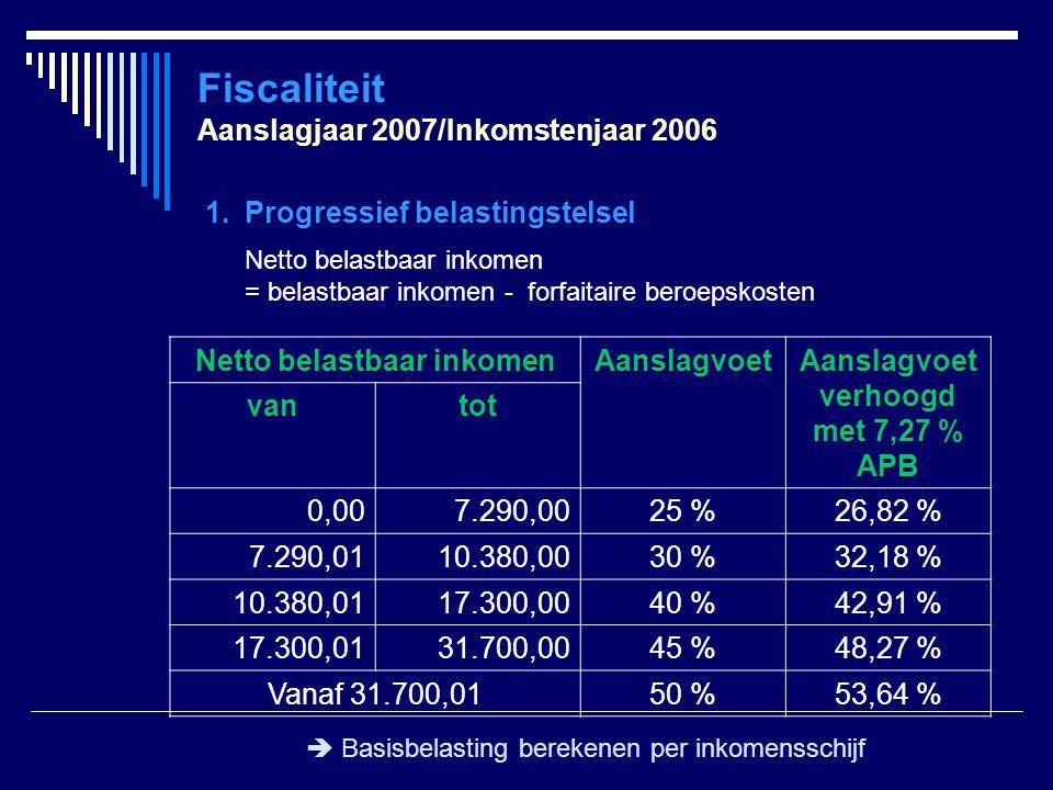Fiscaliteit Aanslagjaar 2007/Inkomstenjaar 2006 1.Progressief belastingstelsel Netto belastbaar inkomen = belastbaar inkomen - forfaitaire beroepskost